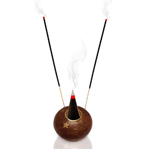Indiabigshop Eco freundliche Holz Handmade Runde Sterne Design Holzkohle Burner Premium Bio Holz Aschenfänger Weihrauch Brown Halter für Sticks Größe 2 Zoll
