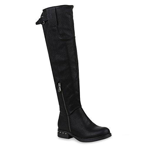 Damen Schuhe Reiterstiefel Leicht Gefütterte Stiefel Leder-Optik Boots 152900 Schwarz Black Carlton 40 Flandell