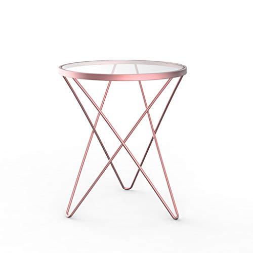 End table.Cb C-Bin1 Eisen Kunst Tisch, Multifunktions Kreative Balkon Tee Tisch Glas Dessert Shop Schlafzimmer Wohnzimmer Couchtisch Komfort (Color : Pink)