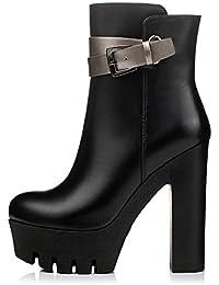HOESCZS Marca Cuero Genuino cinturón de Metal Plataforma Mujer Botas  Zapatos Mujer Zapatos de tacón Alto cfbff6a9b20e
