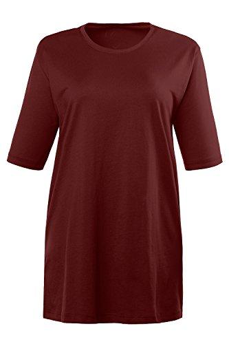Ulla Popken Damen große Größe bis XXXL, T-Shirt, Basic , Regular, Relaxed Fit , Rundhals, Halbarm, uni , REINE Baumwolle , 486910 Karminrot