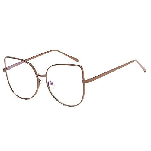 YMTP Frauen Metall Cat Eye Brillen Rahmen Oversize Designer Männer Klare Linse Brillen Plain Spiegel