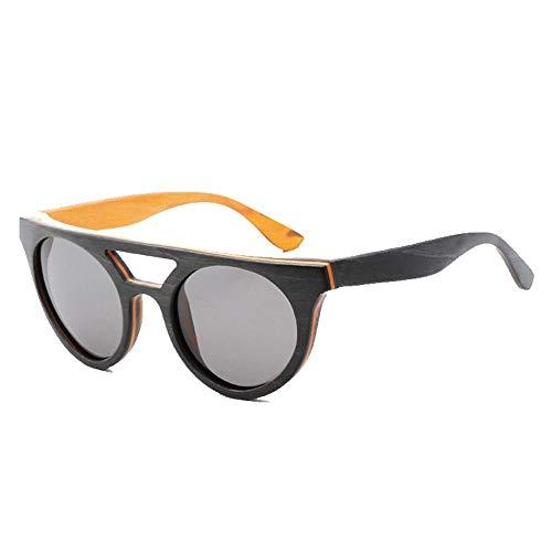 Occhiali da Sole Vintage da Uomo con Montatura in Legno Occhiali da Sole polarizzati in Legno Grigio Blu Uv400 Bicchieri