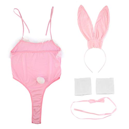 Rabbit Kostüm Bunny - Klassische Kostüm Cosplay Sexy Hot Fancy Bunny Rabbit Dessous Set Halfter Kleid Versuchung Baby Doll Uniform Party Pink