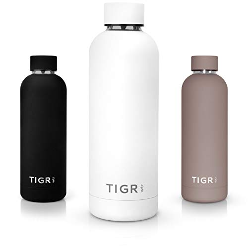 TIGR Thermoflasche aus Edelstahl | Thermoskanne für Heiß & Kalt | Reise-, Sport- & Campingzubehör | Thermisch isoliert & vakuumversiegelt | Für Wasser-, Kaffee-, Tee- & Saft | Weiß | 0,5 L -