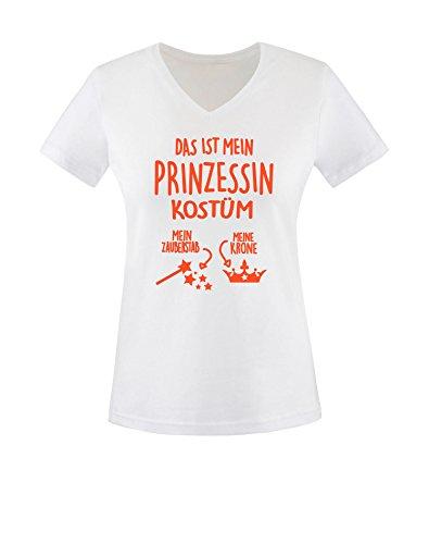 Luckja Das ist mein Prinzessin Kostüm Damen V-Neck T-Shirt Weiß/Orange
