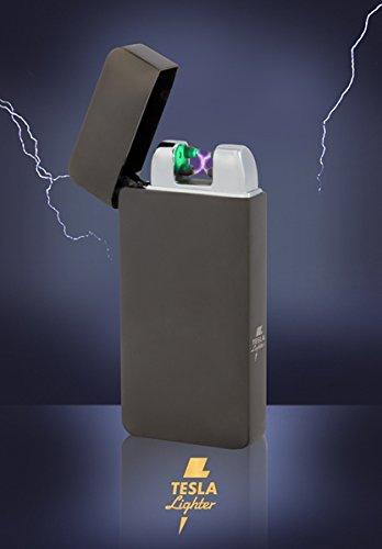 Tesla-Lighter T10 | Lichtbogen Feuerzeug mit Photosensor, Plasma Double-Arc, elektronisch wiederaufladbar, aufladbar mit Strom per USB, ohne Gas und Benzin, mit Ladekabel, in edler Geschenkverpackung, Schwarz