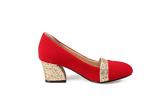 AllhqFashion Damen Rund Zehe Mittler Absatz Ziehen Auf Gemischte Farbe Pumps Schuhe Rot