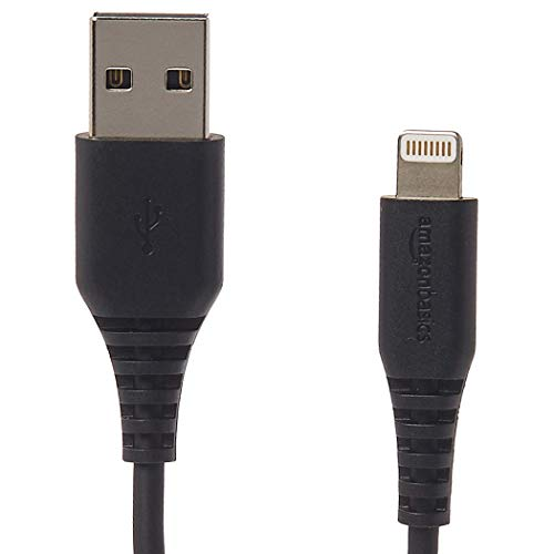 AmazonBasics Apple Certified Lightning to USB Charge and Sync Cable, 6 Feet (1.8 Meters), Pack of 12 - Black