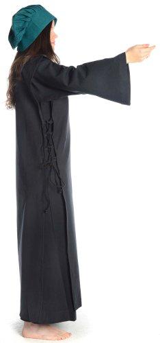 Donna HEMAD medio a forma di abito nero con scapolare S - XL lino cotone con struttura teir Nero-nero