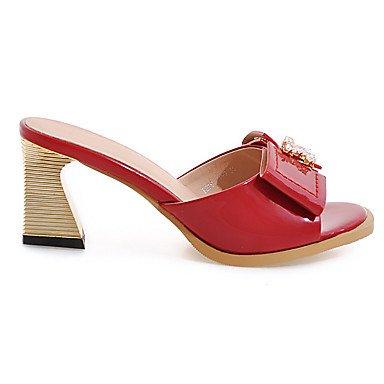 LvYuan Da donna-Sandali-Matrimonio Formale Serata e festa-Club Shoes-Quadrato-Vernice-Nero Rosso Bianco Grigio Pesca Red
