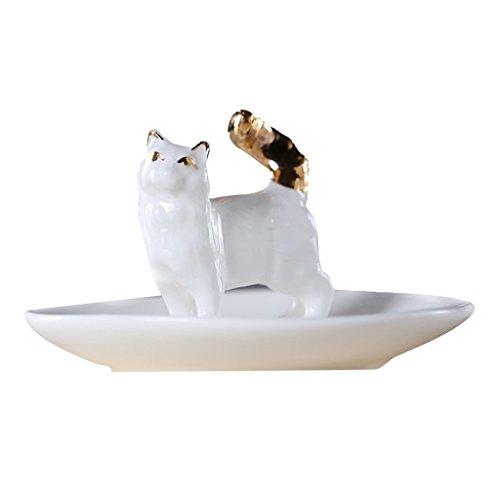 Homyl Süß Porzellan Schmuckhalter Schmuckständer Ohrring Ring Schmuck Halter für Schminktisch - # 1 Katze (Ring-halter Katze)