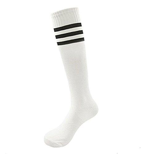 Dosige Streifen Kniestrümpfe Sport Strümpfe Overknee Sportsocken Lang Baseball Fußball Rugby Cheerleader Socks für Männer Frauen Damen Mädchen White Schwarz - Stoff Cheerleader