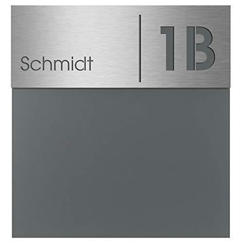MOCAVI Box 570 Design-Briefkasten inkl. Edelstahl Hausnummer-/Namensschild Gravur basaltgrau (RAL 7012) modern groß