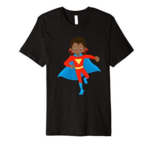 African American Girl Super Hero Kids T Shirt