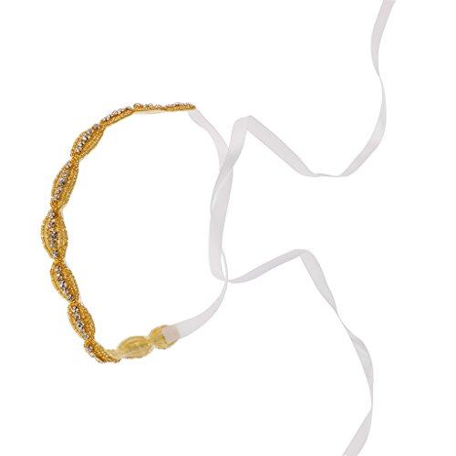 Bandeau Femme en Strass Couleur d'Or Accessoire de Cheveux de Mariée