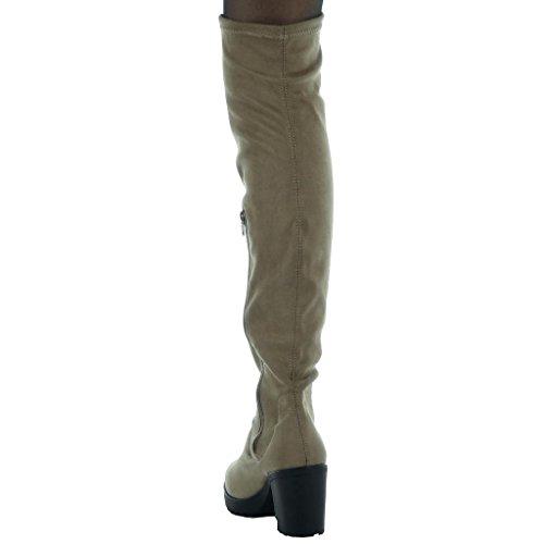 Angkorly - Scarpe Da Donna Con Stivaletto - Tacco Elasticizzato Tacco Alto 8 Cm Color Kaki