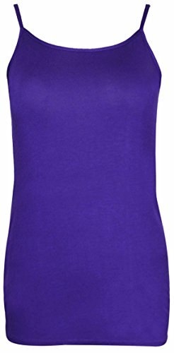 Purple Hanger - Débardeur Femme Sans Manche Extensible Léger Bretelle Uni Grande Taille Violet