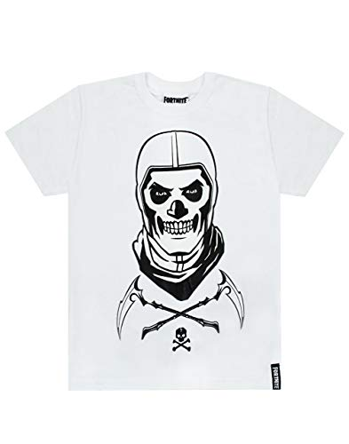 Fortnite cráneo Trooper Niños Camiseta Blanca Battle