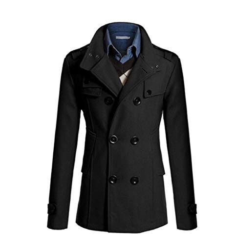 CuteRose Mens Business Woolen Outwear Double Breasted Regular Fit Trenchcoat Black L Classic Double-breasted Peacoat