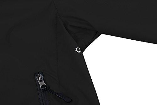 ZSHOW Femme Coupe-vent Imperméable à Capuche Veste de Pluie Légère Zippée Noir