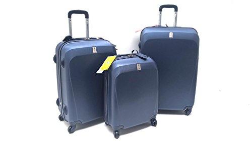 Set Tre Trolle ABS Rigido Clacson 4 ruote Antigraffio con Trolley Ryanair Bagaglio a Mano idoneo cm 55x40x20 (Blu)