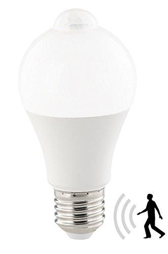 Luminea Sensorbirne: LED-Lampe, PIR-Sensor, 12 W, E27, tageslichtweiß, 6500 K, 1.055 Lumen (E27-Treppenhaus-Leuchtmittel)