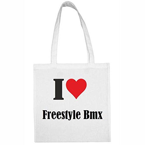 Tasche I Love Freestyle BMX Größe 38x42 Farbe Weiss Druck Schwarz -