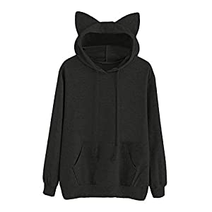 Festiday Womens Plus Size 3/4 Sleeve Tops And Blouses Clearance Sale 2018 New Casual Women's Tops & Tees Womens Cat Long Sleeve Hoodie Sweatshirt Hooded Pullover Tops Blouse