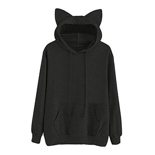 Luckycat Damen Cat Langarm Hoodie Sweatshirt mit Kapuze Pullover Tops Bluse Mode 2018