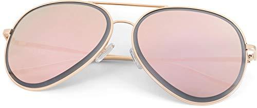 styleBREAKER Unisex Piloten Sonnenbrille mit geschliffenem Rand, verspiegelten Polycarbonat Gläsern und Metall Gestell, Piloten-Brille 09020102, Farbe:Gestell Gold/Glas Pink verspiegelt