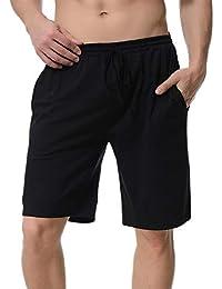 Abollria Pantalones Cortos de Pijama para Hombre Cintura elástica Ajustable y Bolsillo Lateral Pantalones Boxeador Verano