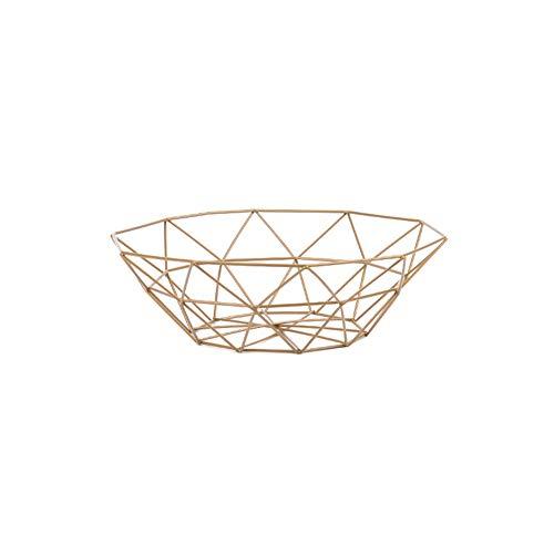 LYBOWL Obstschale Metall Draht, dekorativer Obstkorb,Obst Rack Gemuesetisch Esszimmer Dekoration, Display Ablagekorb,Gold,M -