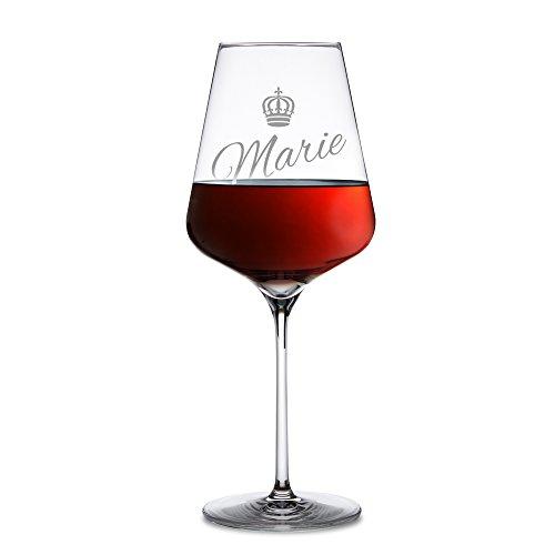 AMAVEL - Rotweinglas – mit Gravur – Personalisiert mit [NAMEN] – Krone – Königin –...