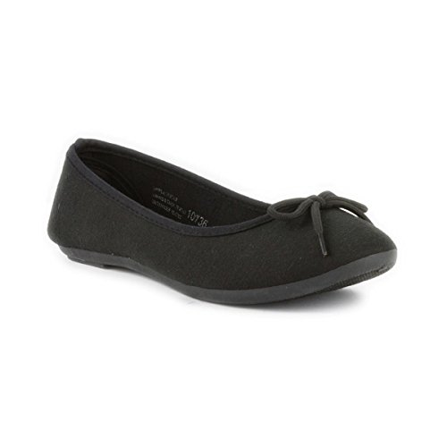 Lilley Womens Casual Jersey Ballerina in Black - Size 6 UK -...