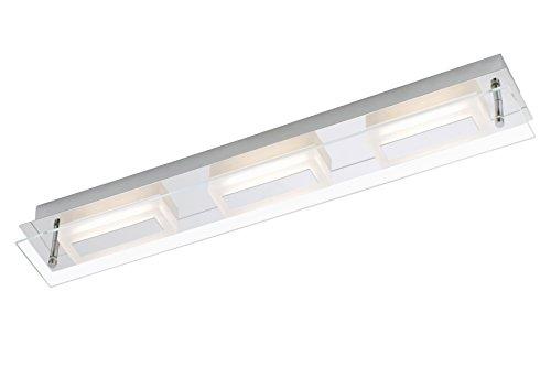 LED Wandleuchte, Wandlampe, Deckenleuchte 3xLED / 6W, 500lm, Badezimmer/Bad geeignet IP44, Metall-Glas / chrom