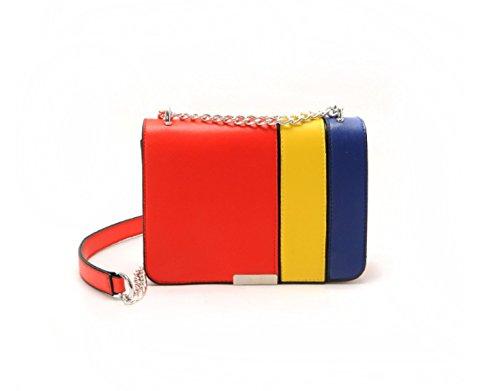 KYFW Damen Beutel Farbe Block Kette Kleine Quadratische Tasche Schulter Messenger Bag Mode Wild Bag B