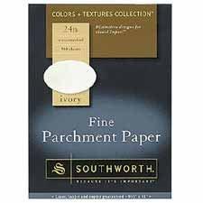 Southworth Farbe + Texturen collectiontm Fine Pergament Papier, 81/2in. X 11in, 24LB, Elfenbein, 80Stück