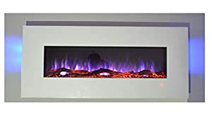 TruFlame 2019 NEW PREMIUM PRODUCT 50inch White Wall Mounted Electric Fire with 10 colour Flames and side LEDs (Pebbles, Logs and Crystals)!