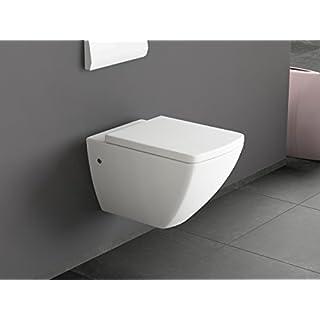 Aqua Bagno Design Hänge WC aus Keramik - Wand WC HAWC25-39 mit Sitz