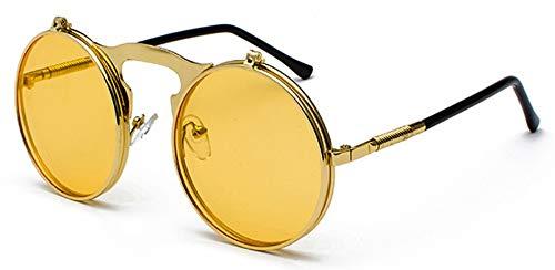 Sonnenbrille Runde Klappbare Sonnenbrille Retro Männer Metallrahmen Rote, Gelbe Linse Zubehör Unisex Sun Gold Mit Gelben Gläser Für Frauen