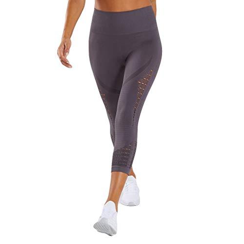 YIHANK Damen Sport Mesh Leggings - 3/4 Sporthose kurz Training Tights Fitness Capri Yoga Pants -