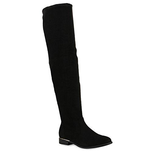 Damen Stiefel Overknees Veloursleder-Optik Winterstiefel Langschaftstiefel Metallic Blockabsatz Schuhe 122682 Schwarz 40 Flandell