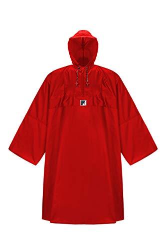 HOCK Regenponcho \'Wetter AS Klima\' mit Langen Ärmeln - Der Atmungsaktive Outdoor Poncho für Damen und Herren - Regencape mit weitem Schnitt für\'s Wandern mit Rucksack - Rot - S