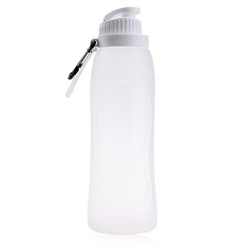 500ml Faltbar Lecksicher Silikon Wasser Flasche Tragbar für Outdoor Sports Camping Wandern Fahrrad, weiß (Gap-schwarz-bhs)