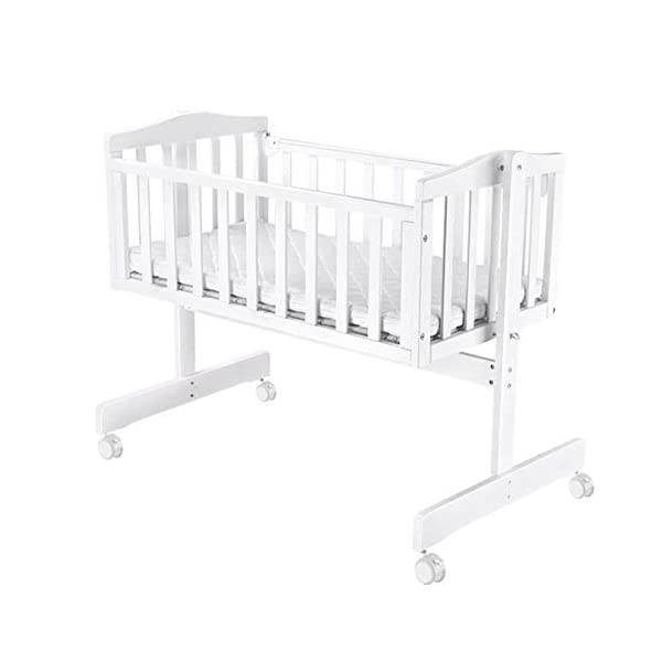 RUNQIAN Swinging Crib, Deluxe Multifunction Gliding Crib White RUNQIAN Create a relaxing sleeping area for your precious child and feel like you are swaying in your arms Suitable from birth to 6 months Simple locking device for easy locking in the rest position 1
