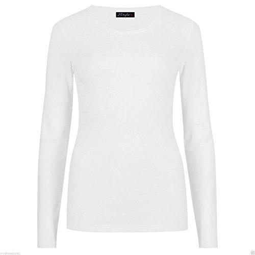 ZET New Ladies Plus Size Long Sleeve T-Shirt Womens Stretch Plain Top Sizes 8-26