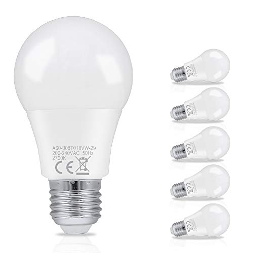 HENGDA 8W LED Birnen ersetzt 60 W Sockel E27 800Lumen warmweiß (2700K) 6er Pack Energiesparlampe LED