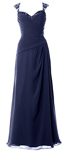 MACloth Women Cap Sleeves Long Mother of Bride Dress Open Back Party Formal Gown (Custom Size, Dunkelmarine)