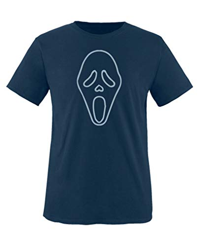 Comedy Shirts - Halloween Maske - Jungen T-Shirt - Navy/Eisblau Gr. 110-116